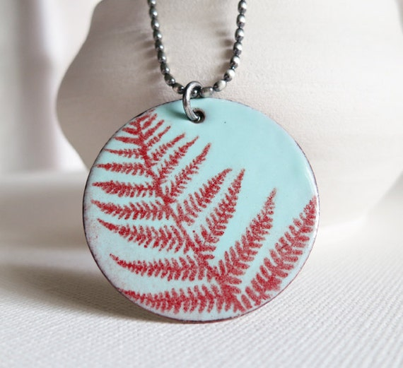 SALE - Handmade Enamel Pendant Necklace - Robin Egg Blue with Red Fern Print