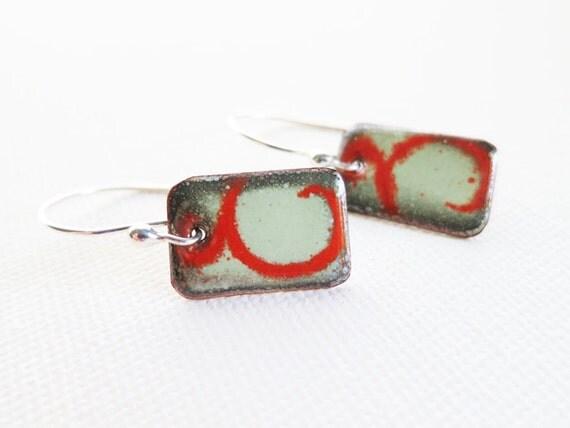 Enamel Jewelry - Enamel Earrings, Lichen Green, Flame Orange, Sterling Silver Dangle Earrings