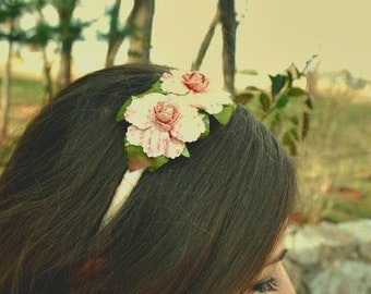 clearance pink and cream flower headband for women and teens: val, ships free always at ahnooshig