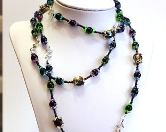 Black Extra Long Wrap Around Handmade Beaded Necklace With Leaf spacers, and a Rainbow of Colorful Accents - perfect for sweaters
