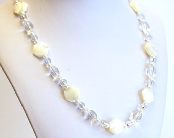 White Hexagon Pearlized Glass Beaded Necklace, Earrings, and Bracelet Matching Jewelry Set - Womens Fashion - Bridal Accessories