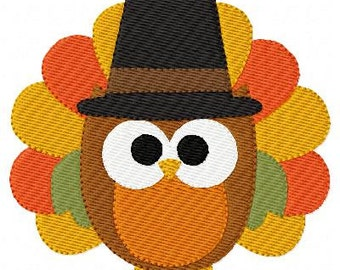 Owl // Turkey // Thanksgiving Machine Embroidery Design, Machine Embroidery Design, Turkey Machine Embroidery Design // Joyful Stitches