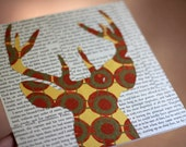 """Deer Head Silhouette With Antlers in Fall Colors, Woodland Wall Art,Deer Silhouette in Orange, Yellow and Gold, 8x8"""" OOAK Collage on Birch"""