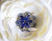 5pcs RD82 Blue Rhinestone Crystal Metal FlatBack Embellishment Brooch Wedding Bridal invitations favors bouquets accessories