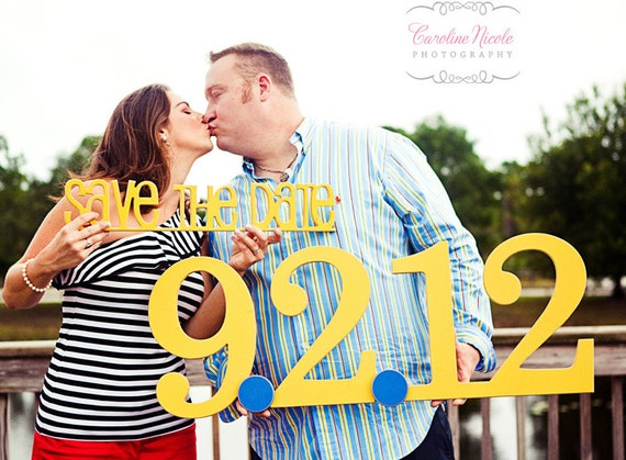 Save The Date Photo Prop SET - Large Date & Small Save the Date