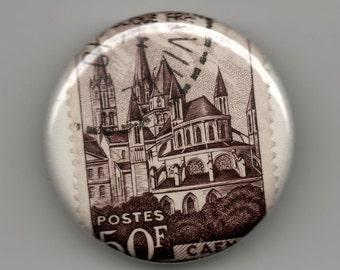 France, Caen Brown Church. 1.25 inch Pinback Button Postage Stamp 1951