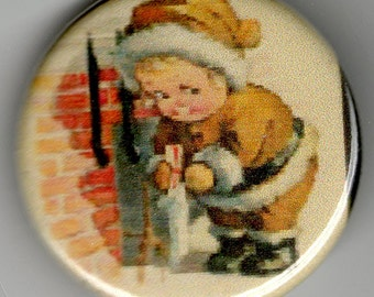 Adorable Cupie Cherub Santa Christmas Image 1.25 inch Button