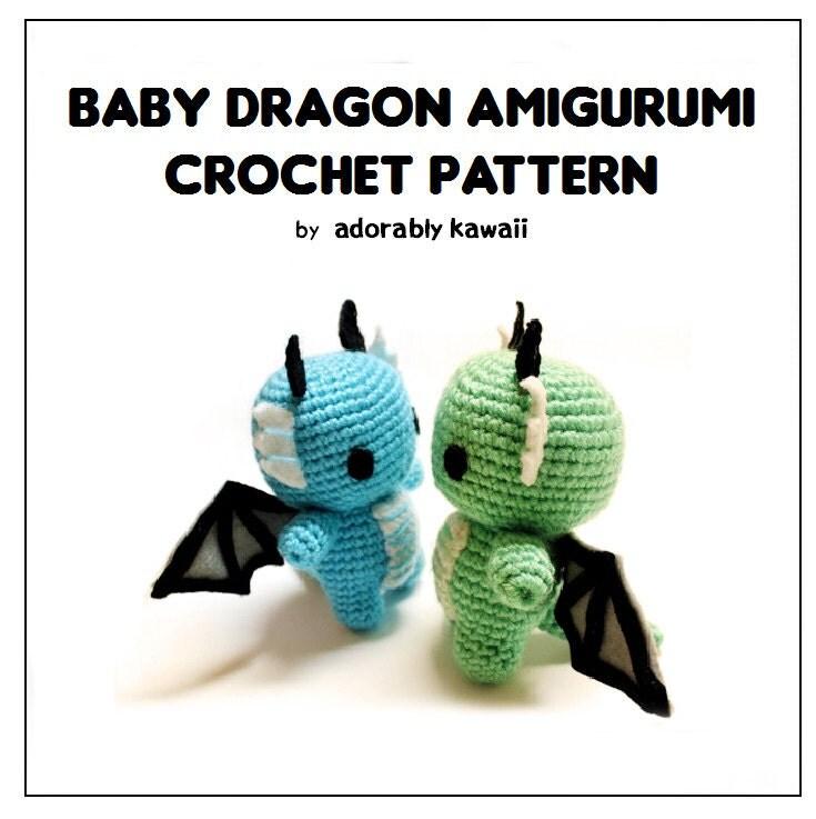 Baby Dragon Amigurumi Pattern : Baby Dragon Amigurumi Pattern Crochet Dragon Pattern Cute