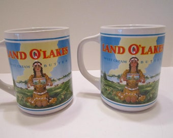 Land of Lakes Collectible Vintage Mugs - Pair