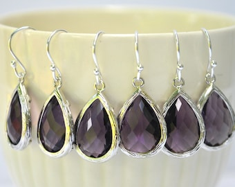 Bridesmaid Purple amethyst Earrings Briolette Framed Glass Sterling Silver, Set of 2, 3, 4, 5, 6, 7, 8, 9, 10, 11, 12