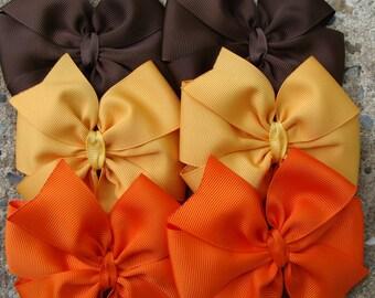 Hair Bow Fall Hair Bows Thanksgiving Hair Bows Pumpkin Hair Bows Hair Clip