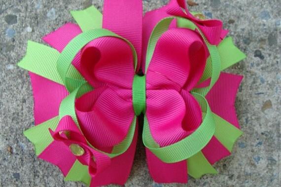 Fuschia and green Hair Bow Boutique Hair Bow - Large Boutique Hair Bow