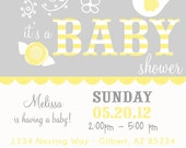 PARTY PRINTABLE  - Bird Nest Modern Baby Shower Invitation - Petite Party Studio