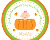 Pumpkin baby Halloween stickers --  first birthday Pumpkin halloween stickers -- halloween birthday stickers - halloween favor
