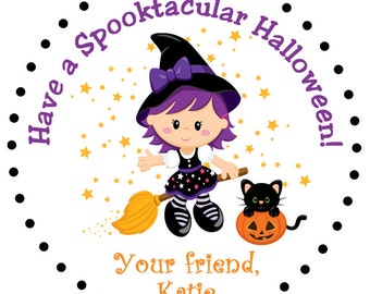 Halloween stickers --  witch halloween treat stickers -- customized halloween sticker - any hair color