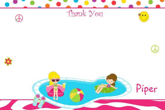 Girls pool party  Birthday Party Thank you note --  swimming birthday party thank you note -  you print or I print
