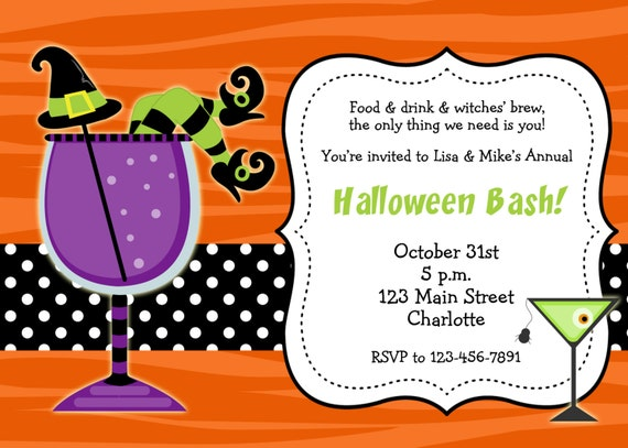 Halloween party invitation --  Halloween cocktail party invitation -- You print or I print