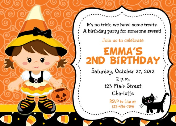 Halloween party invitation --   candy corn witch halloween birthday party invitation -- You print or I print