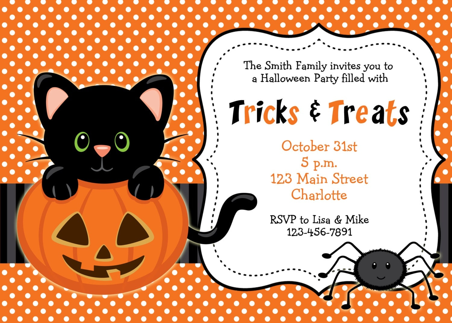 Halloween Party Invitation Kitty Cat Halloween Birthday - Halloween birthday invitations party