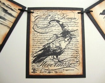 Halloween Banner Garland Party Decoration Ravens Crow Black Cat Poe Nevermore