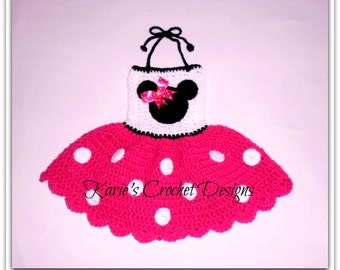 Minnie Mouse HOT PINK Polka Dots Crocheted Dress