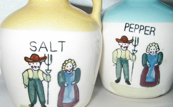 Vintage Farmer and Farmer Wife Salt and Pepper Shaker Set for a Rustic Shabby Farmhouse Kitchen Old Jugs Shakers