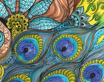 PEACOCK Fine Art Print-turquoise blue lime green ink and acrylic painting