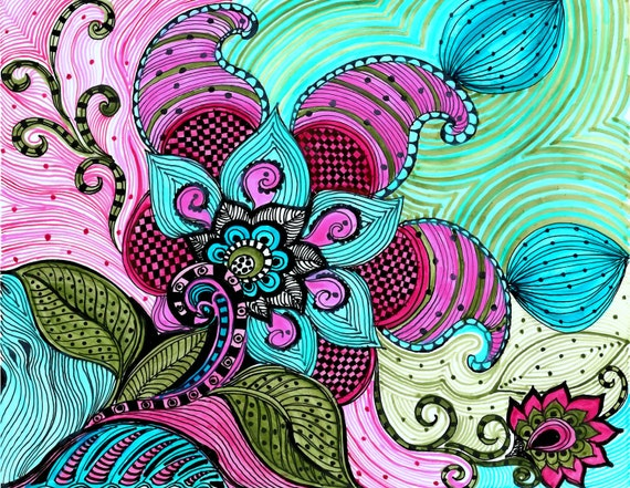 FLOWER paisley fine art PRINT-pink blue green flowers ink and acrylic