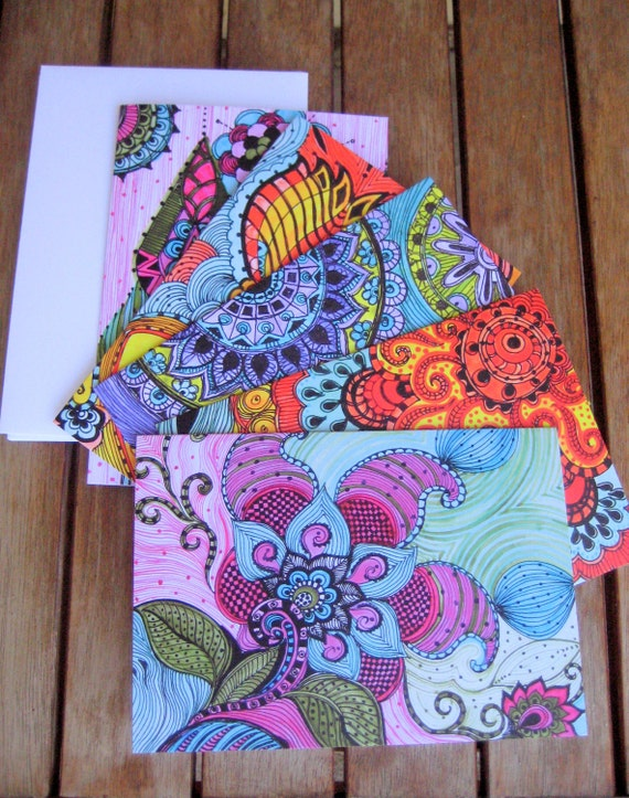 NOTECARDS-set of 5 cards with artwork envelopes included blank inside