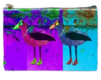 Pukeko Cosmetic bag, cosmetic Makeup bag, purple bag, large makeup bag, New Zealand bird, zippered pouch, NirvanaRoad, pink and turquoise