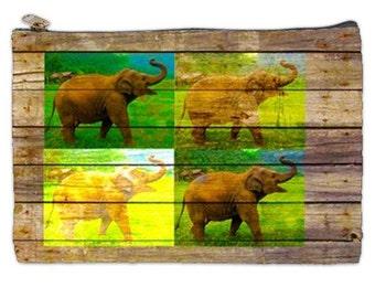 Elephant pouch, elephant cosmetic Makeup bag,  Asian elephant pouch, Elephant Travel Bag,  Save our Elephants document bag, Asian Elephants