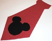 Iron On Applique MICKEY MOUSE Necktie Neck Tie 8 inch...Great Size For Shirt Size 4-8 Years