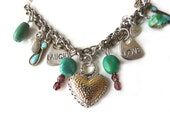 Identity Crisis Bracelet....Turquoise beaded bracelet plus Chain with charms