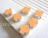 Silver plated Double-sided Metal Clover Connector in skin pink color- 15mm