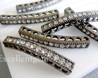 Bracelet connector, 5pcs-jet tone curved side ways Crystal Rhinestones Bracelet Connector