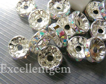 Rhinestone brass wheel spacer 50pcs 8mm silver plated High quality AB color Czech Crystal Rhinestone Brass spacer Wheel Rondelles-8mm