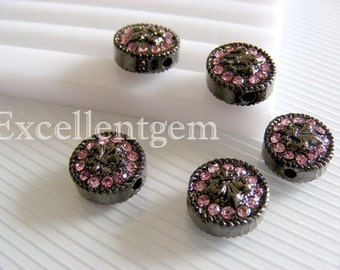 Rhinestone bracelet connector Fleur de lis coin beads -- jet tone with DOUBLE SIDED Pink rhinestone Connector beads in coin shape-8p