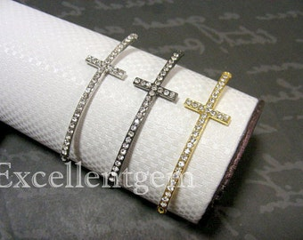 Sale 30% Off---10pcs New shape,Metal with Crystal Sideways Cross Bracelet Connector in 3 colors- 15mm x 53mm