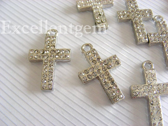 5pcs-High quality,White Gold plated Double line Cyrstal Rhinestones cross Charms --14mm x 20mm
