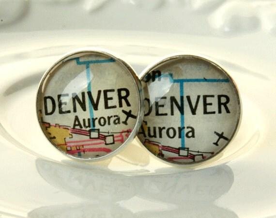Accessories Cufflinks, Map Cufflinks Denver, Vintage Map Cufflinks