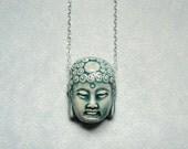 Buddha necklace.  Raku pottery.  Sterling silver chain.  Blue.  Spiritual.