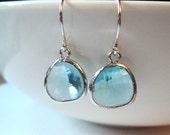 Aquamarine blue topaz glass and silver rhodium dangle earrings. Bridal earrings.  Bridesmaids earrings.  Bridesmaid.  Wedding jewelry.