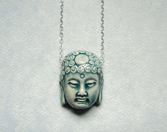 Gift Buddha necklace Buddha jewelry Buddha pendant Buddha Head Buddhist Buddhism Sterling silver Buddha necklace Spiritual jewelry Gift