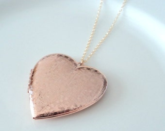 Heart locket necklace Gift Rose gold and gold heart locket necklace Bridal jewelry Bridesmaid necklace Gift for her Bridal gift Heart Locket