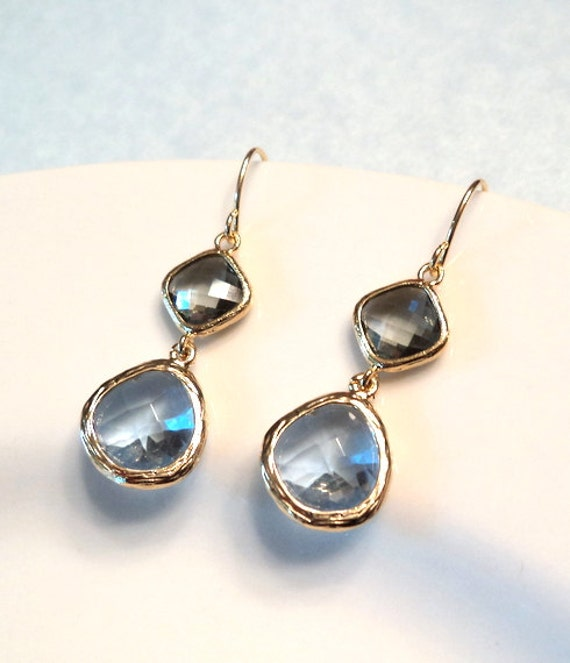 Blue light cornflower and gray glass gold dangle earrings.  Bridal earrings.  Bridesmaids earrings. Wedding jewelry.