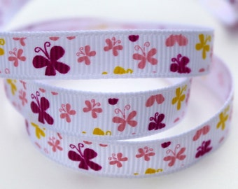 White Butterfly Grosgrain Ribbon 3/8 Inch 9mm