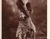 Gaby Deslys: Beautiful Dancer Wearing a Leopard Skin Coat (c 1913)