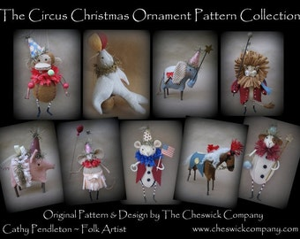 Circus Ornaments PATTERN PACKET for all 9 ornaments by cheswickcompany