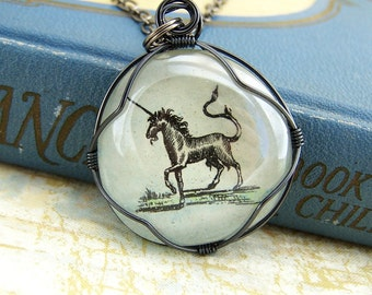 Unicorn Necklace - wire wrapped glass pendant - unicorn jewelry - Made to Order