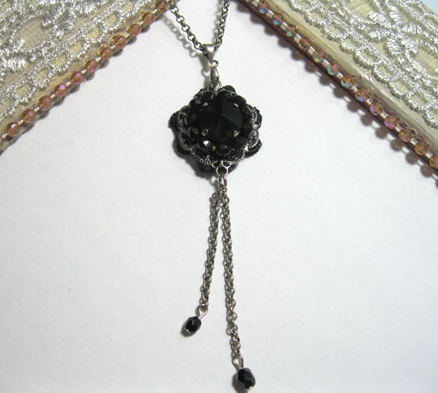 Black  Lace Bridal Statement Necklace, Onyx , Free Shipping ,Romantic ,Statement Necklace ,lace,necklace, necklace - NB00509